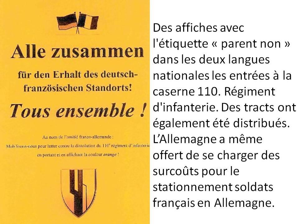 Brigade franco-allemande: dissolution du 110e régiment d'infanterie français de Donaueschingen  762366110rilesAllemands