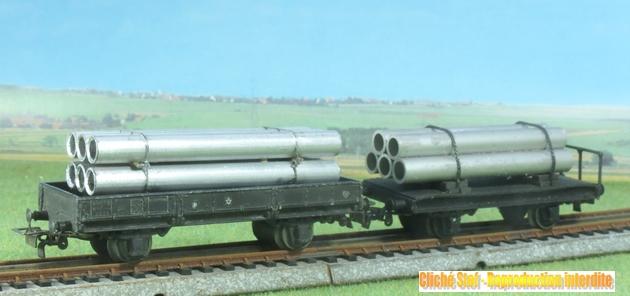 Wagons plats 2 ess maquette et semi maquette chargés par ordre alphabetique 769769VB2essieuxplatstuyauxIMG3112