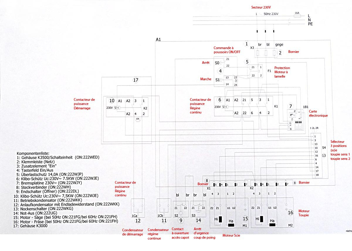 Boîtier de commande déportée pour machine stationnaire 783779SchemaElectraduit