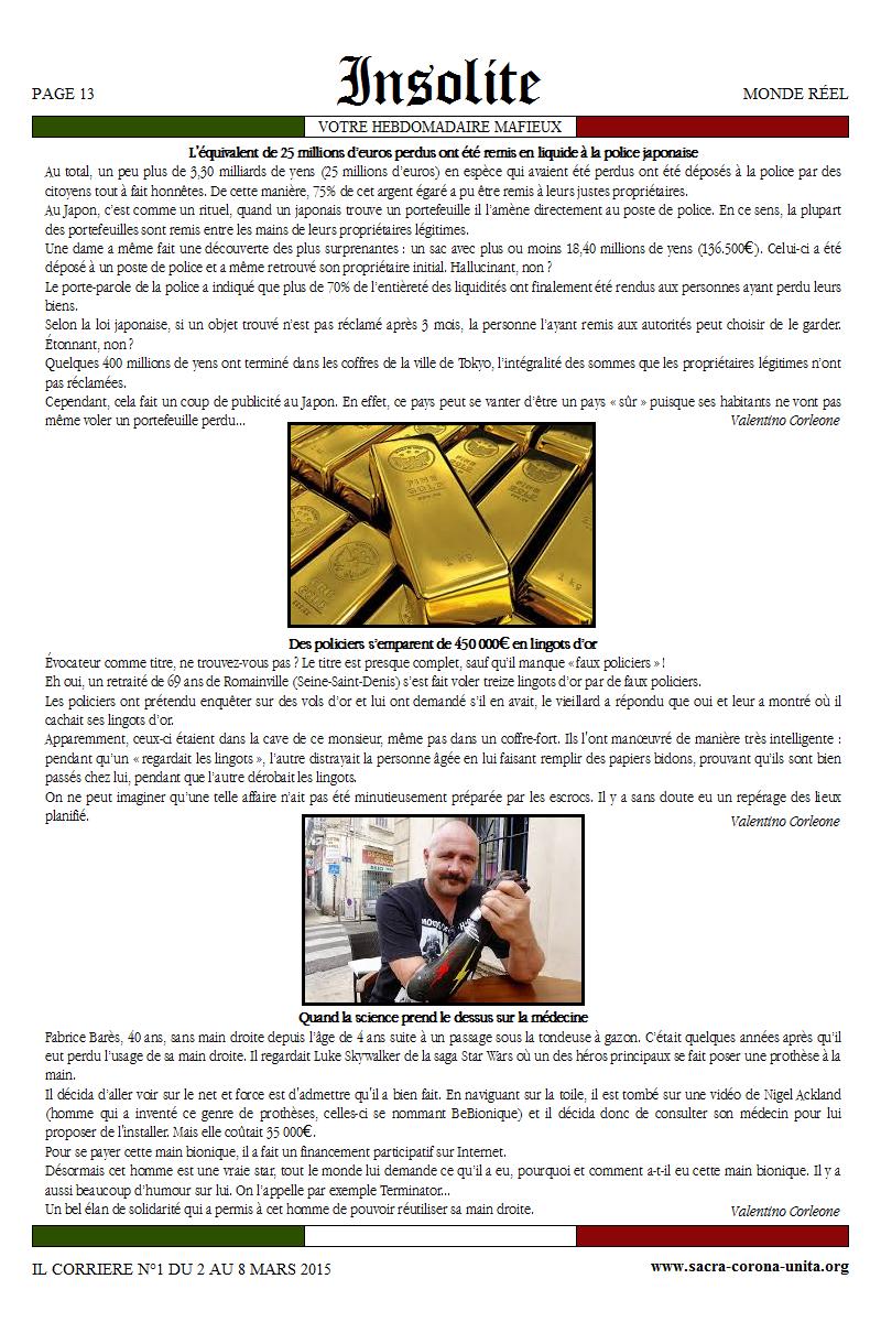 Il Corriere N°1 du 2 au 8 mars 2015 817507Insolites