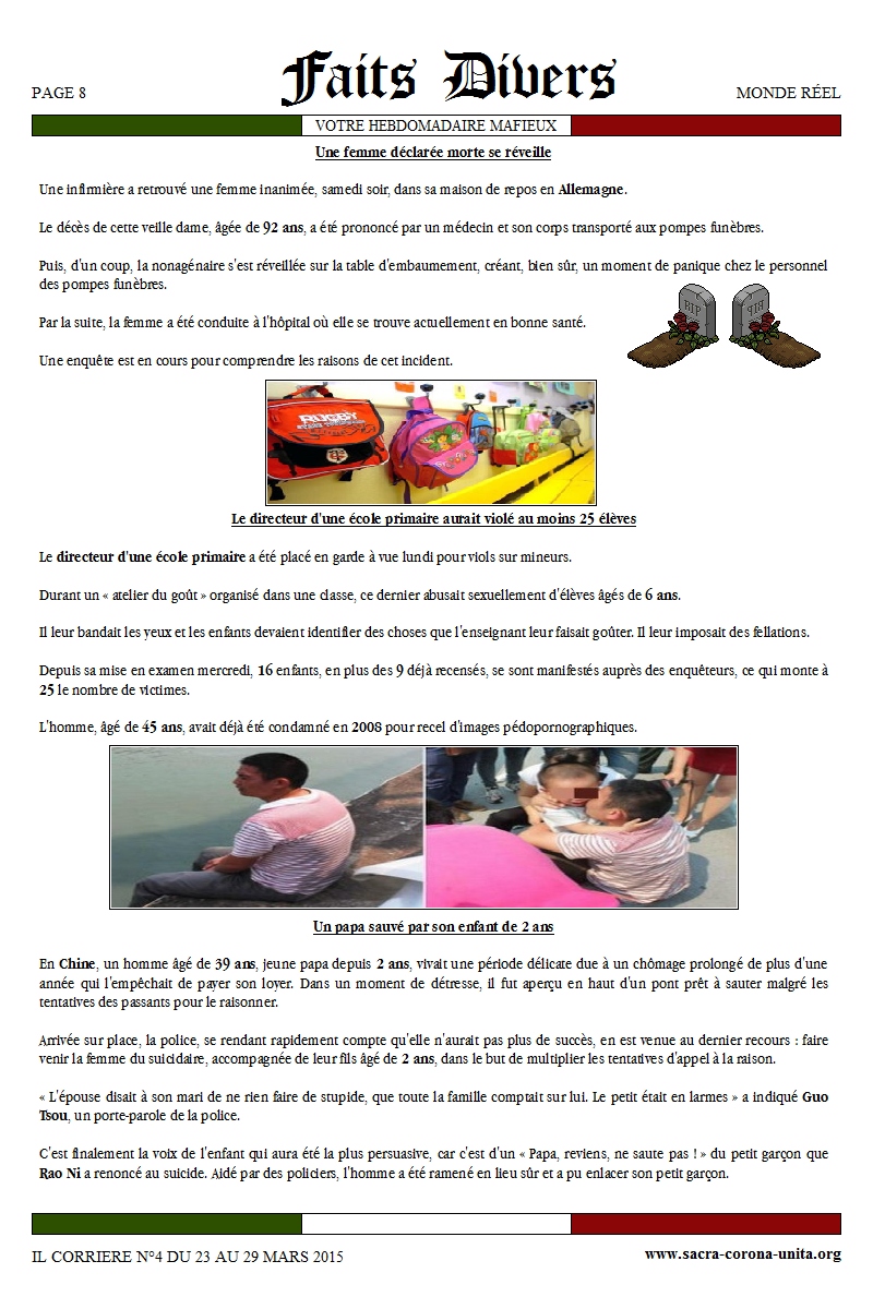 Il Corriere N°4 du 23 au 29 mars 2015 826571Faisdivers