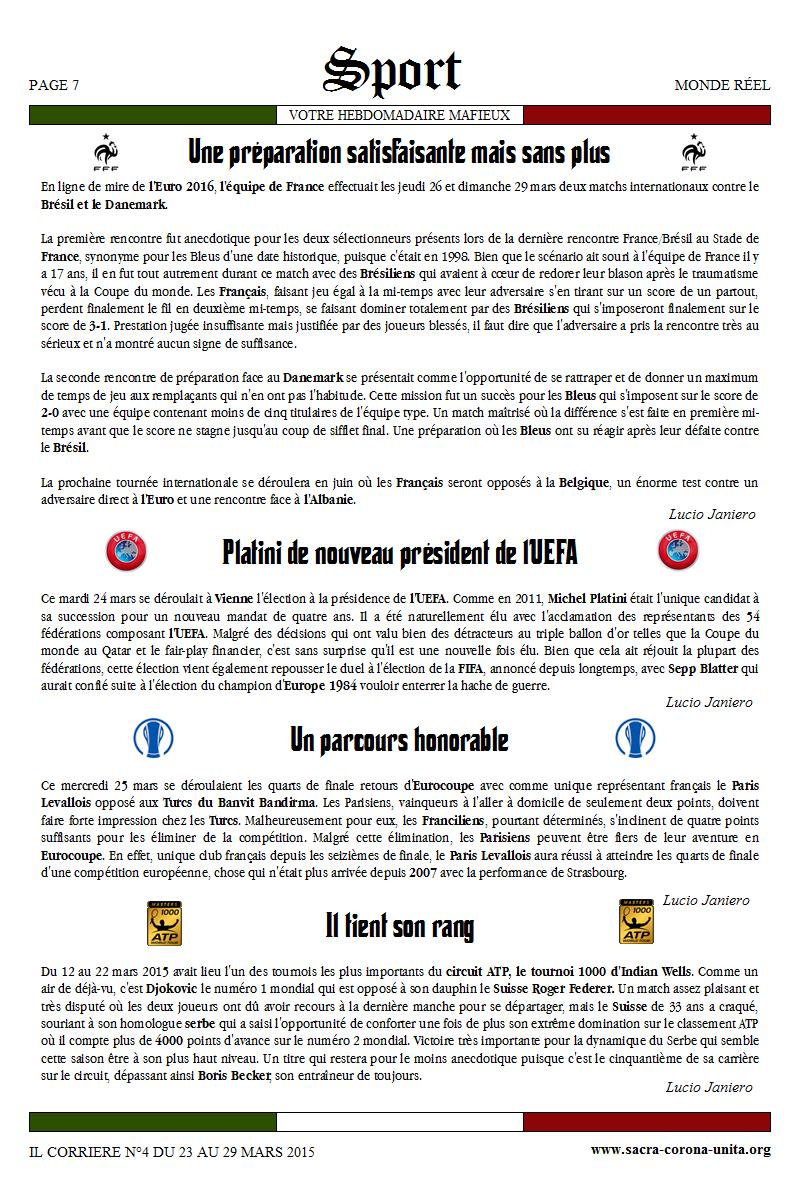 Il Corriere N°4 du 23 au 29 mars 2015 840010Sport