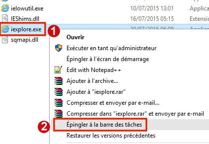 Raccourcis Internet Explorer 870904486