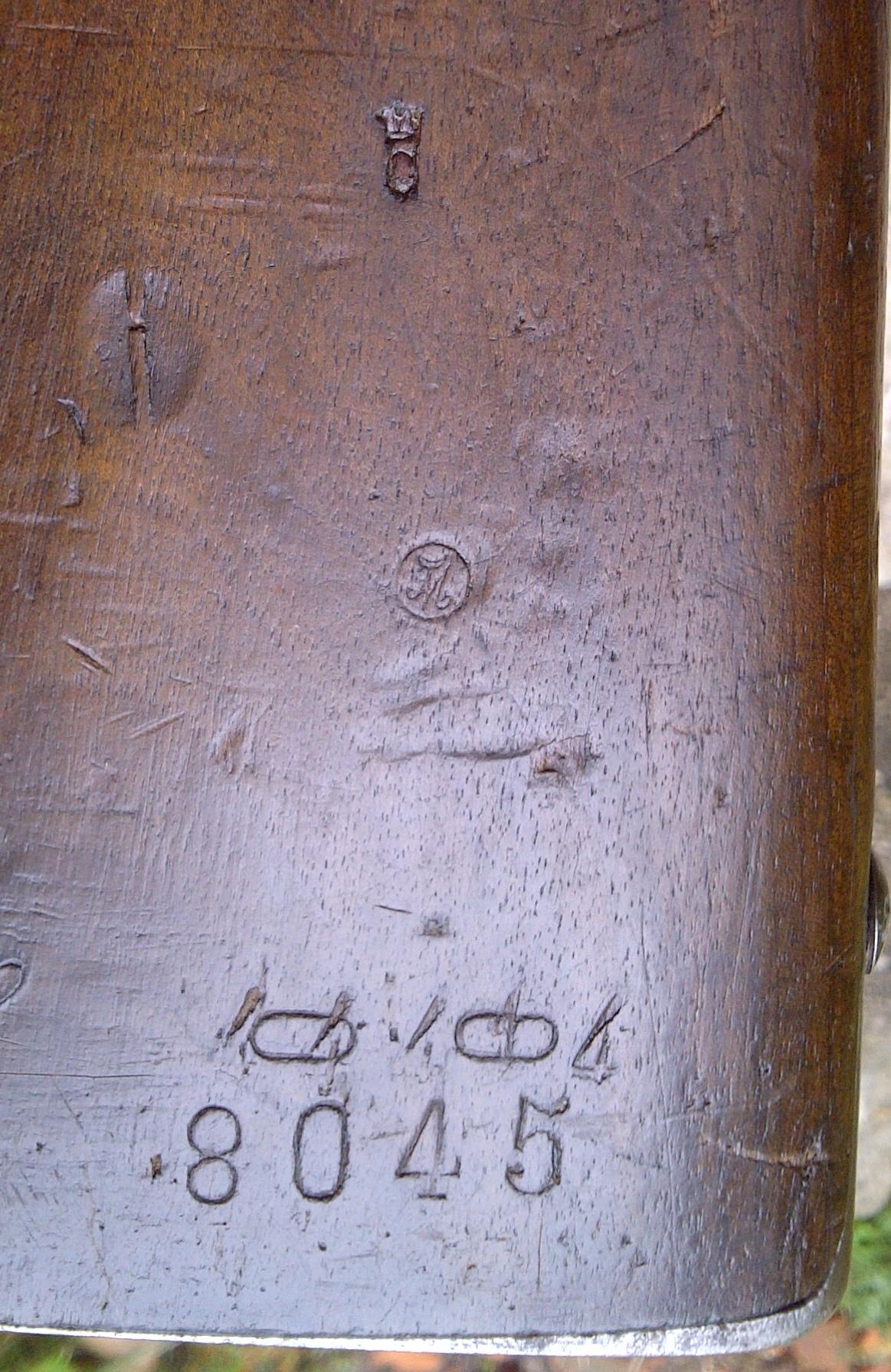 poinçons à identifier sur le bois d'un Gras 1874/80 modifié 14 878908gras1