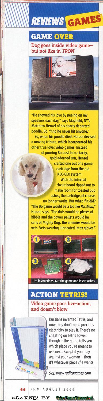 Une urne pour un chien avec une cartouche Neo-Geo 916674FHMBoArticleAug2005