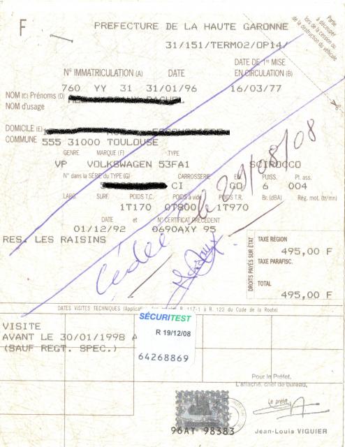 ''Scirocco 1977 Diesel a BIDOCHE '' 928575Carte_grise