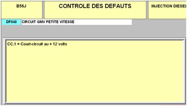 Défaut DF048 LAGUNA DTI 933110D2FAUT02