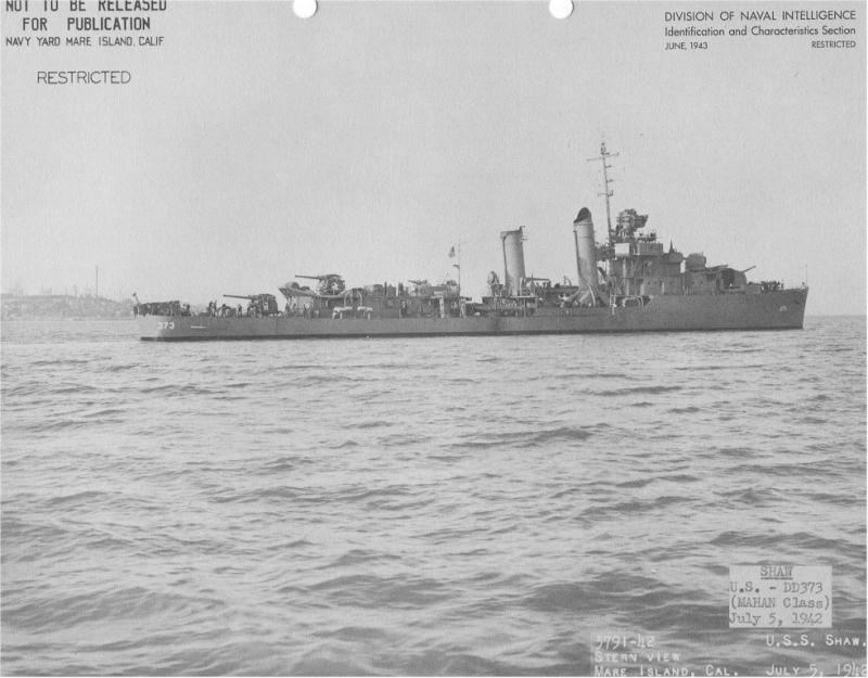 USN DESTROYERS CLASSE MAHAN 953406USSShawjuin1943