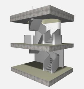 """Challenge thème : """"modélisation et rendu d'une maison atypique"""" - Silk37 & SB - ArchiCAD 17 - 3DS/V-Ray - Photoshop Mini_765298515100OLSHouseEscalierVue11"""