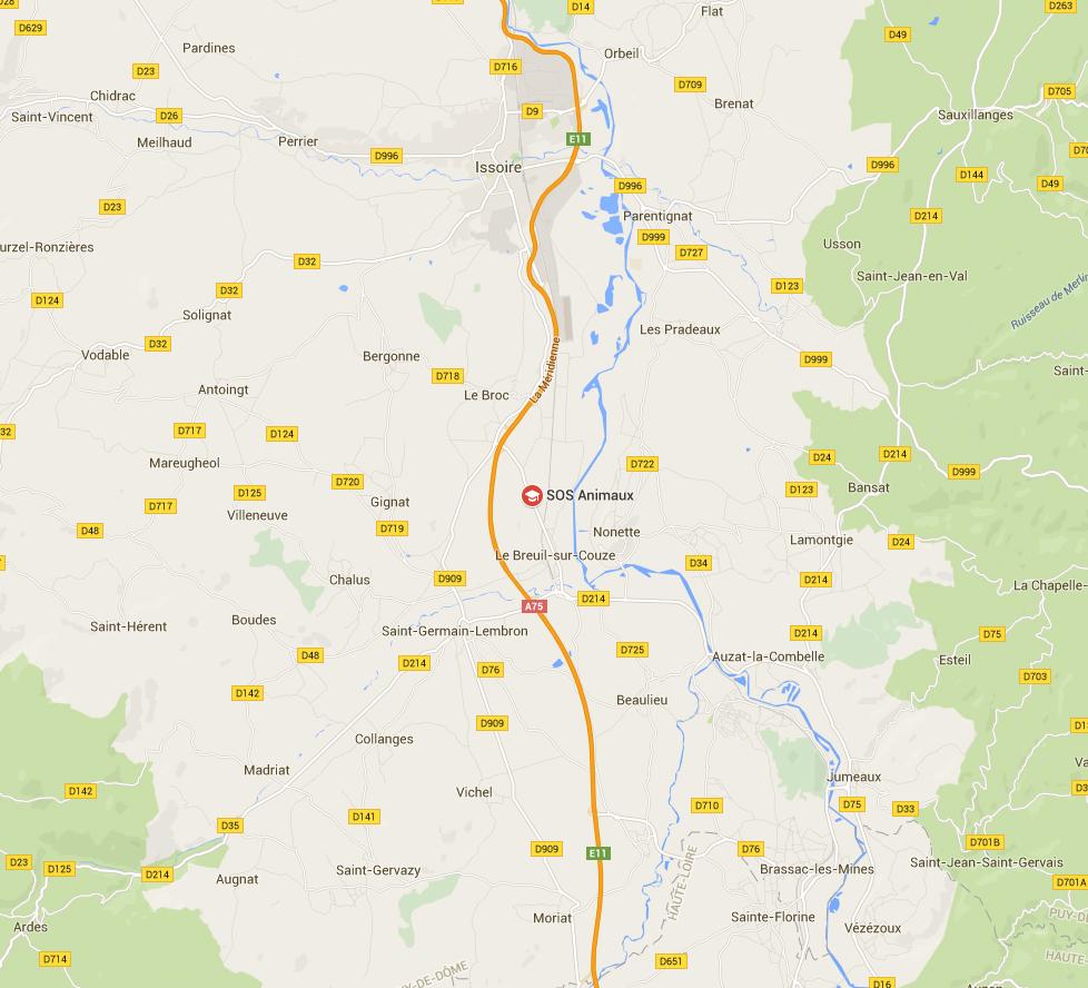 Cartes de localisation du refuge SOS animaux 121602CARTE