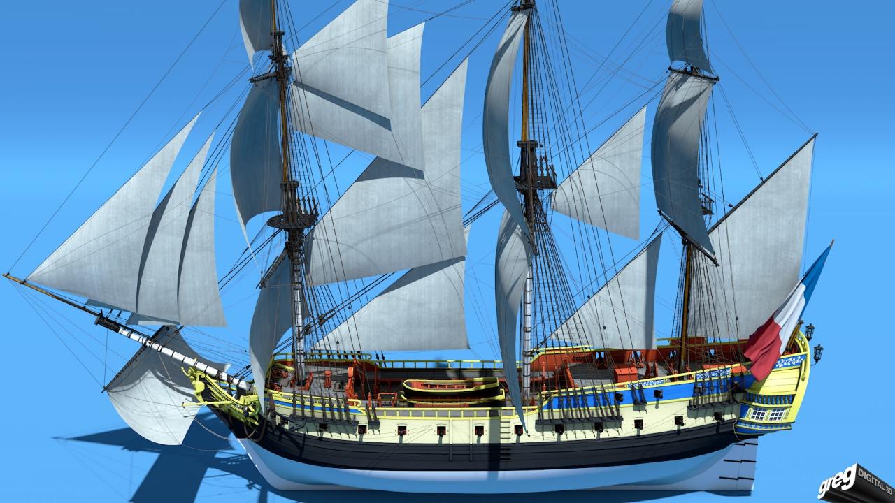 Frégate 36 canons XVIII° [Création 3D] par Greg_3D - Page 2 140999Frgatestudio7