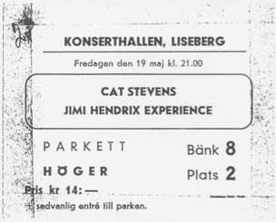 Göteborg, Konserthallen, Liseberg Nöjespark, Vaster Gotland,  Suède : 19 mai 1967  [Premier concert] 165499cathendrix
