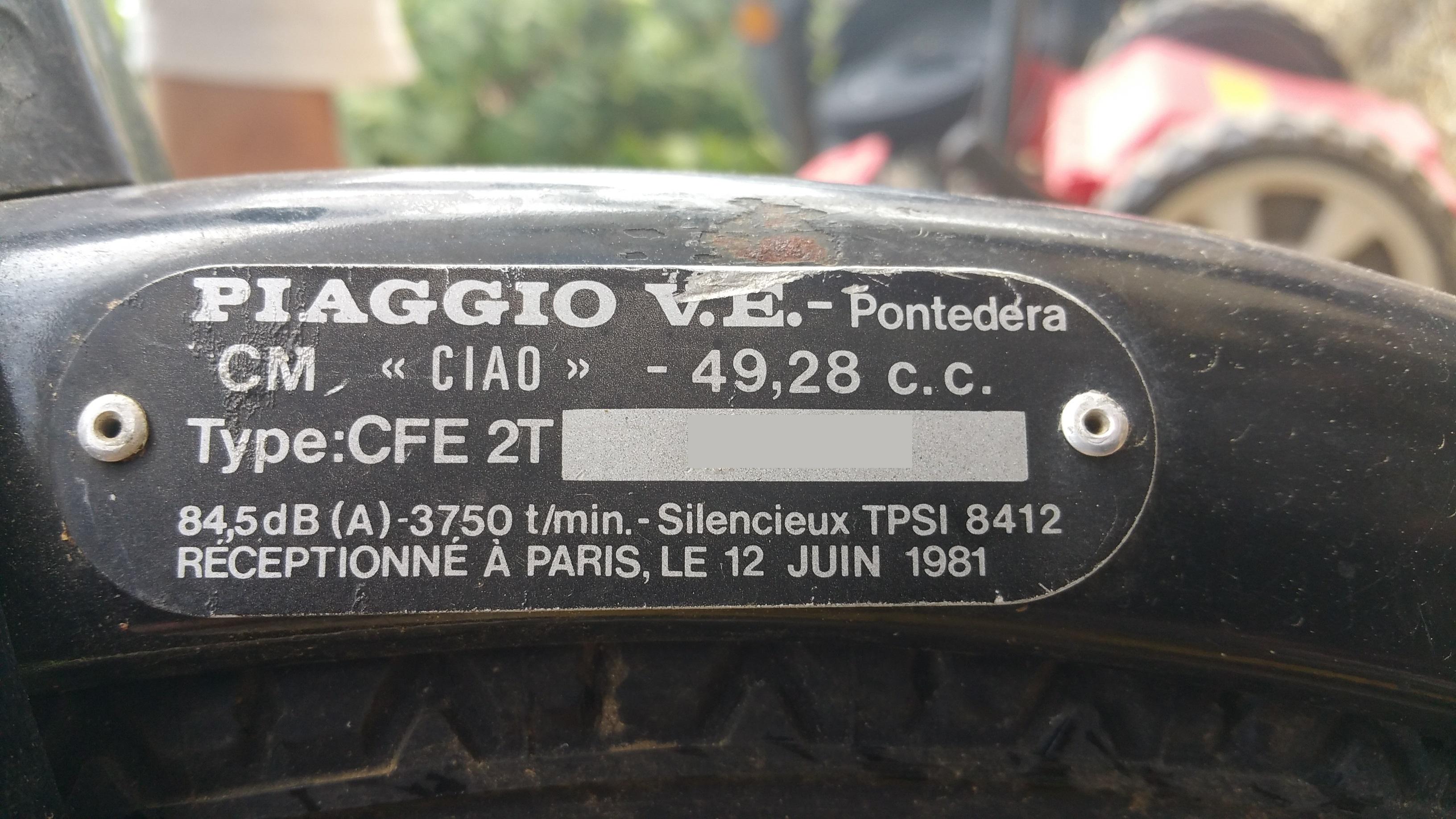 Restauration de mon Ciao CFE 2T de 1981 Classique. 16790820150903145219