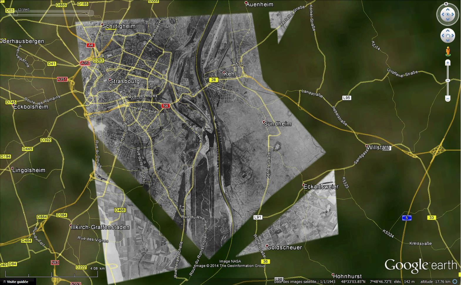 Les plus anciennes images disponibles dans Google Earth 173016SrtasbourgKehl