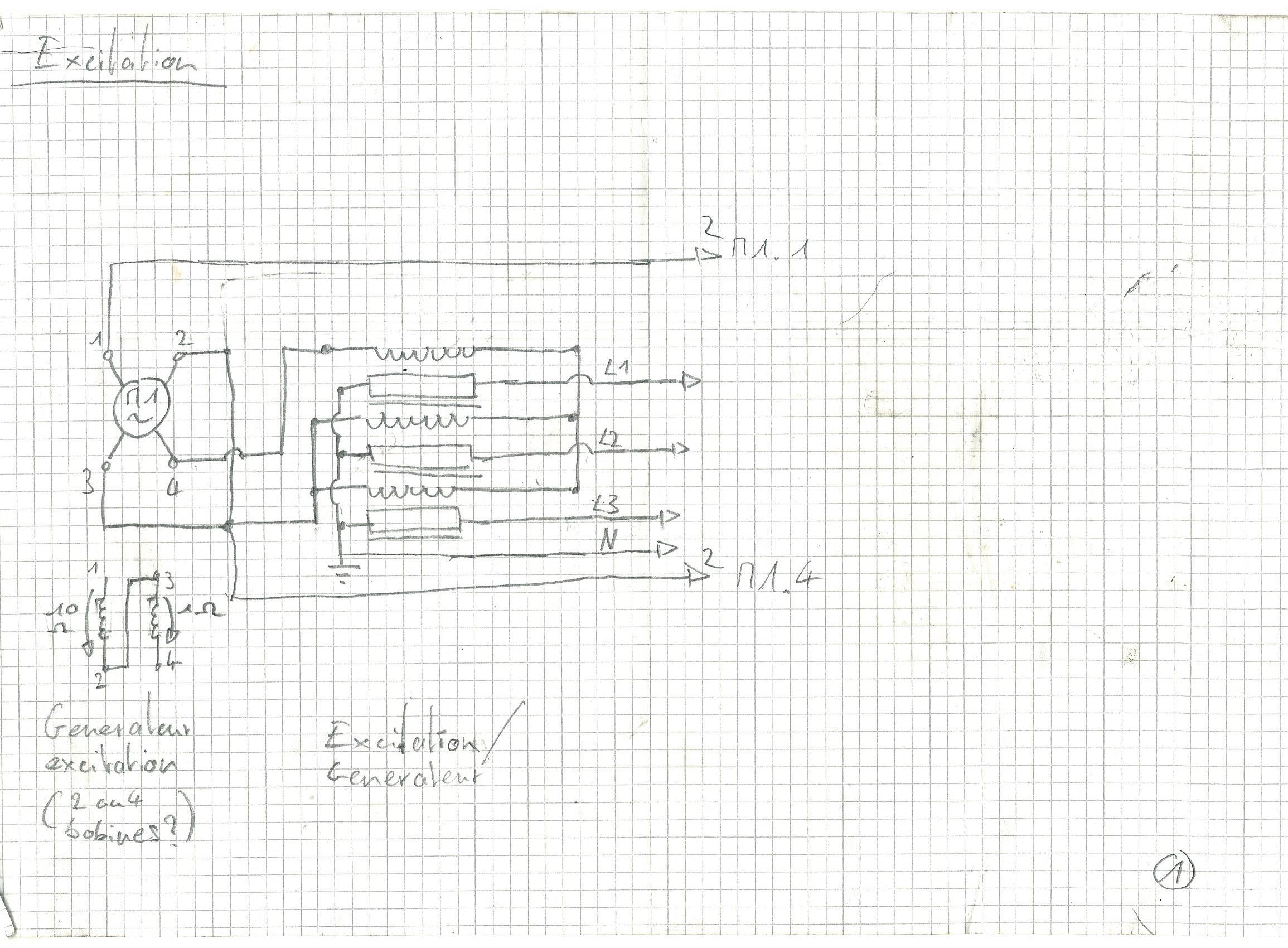 Reffit GE 22kVA Triphasé 380V - Brown Boveri 1964 178107schemageneratrice0001