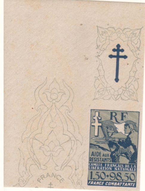 """Timbre """"Aide aux résistants"""" émission du CFLN 1943 182277bv000099"""