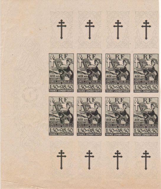 """Timbre """"Aide aux résistants"""" émission du CFLN 1943 191377bv000098"""