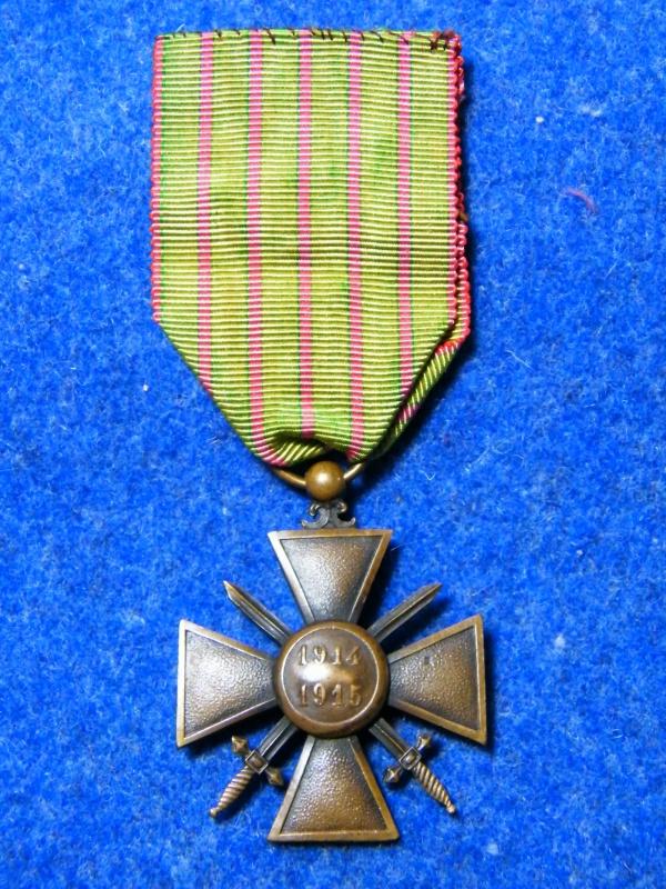 croix de guerre 14/15 5 citations ruban vert clair 194635022