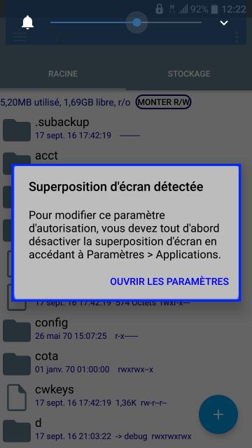 """[ASTUCE] Solutions au message """"Superposition d'écran détectée"""" 207488Screenshot20160918122211"""