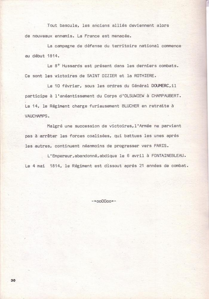 L'épopée Napoléonienne du 8 ème Régiment de Hussards  - Page 2 211231Historique8RHN30