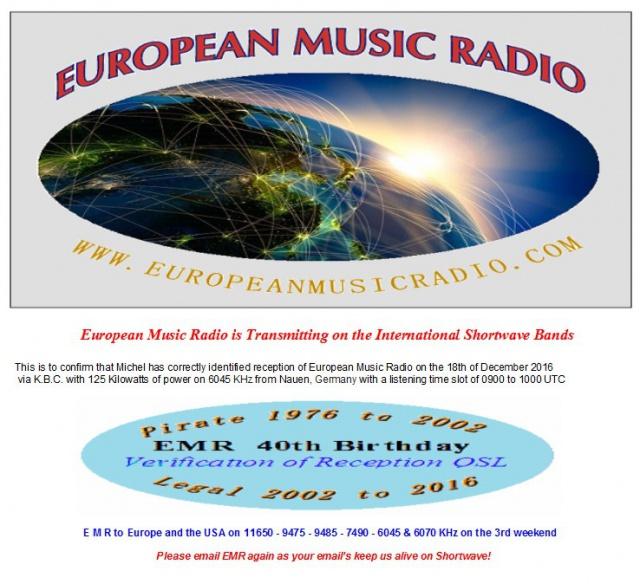 eQSL 40ème anniversaire de EMR 244230EMR