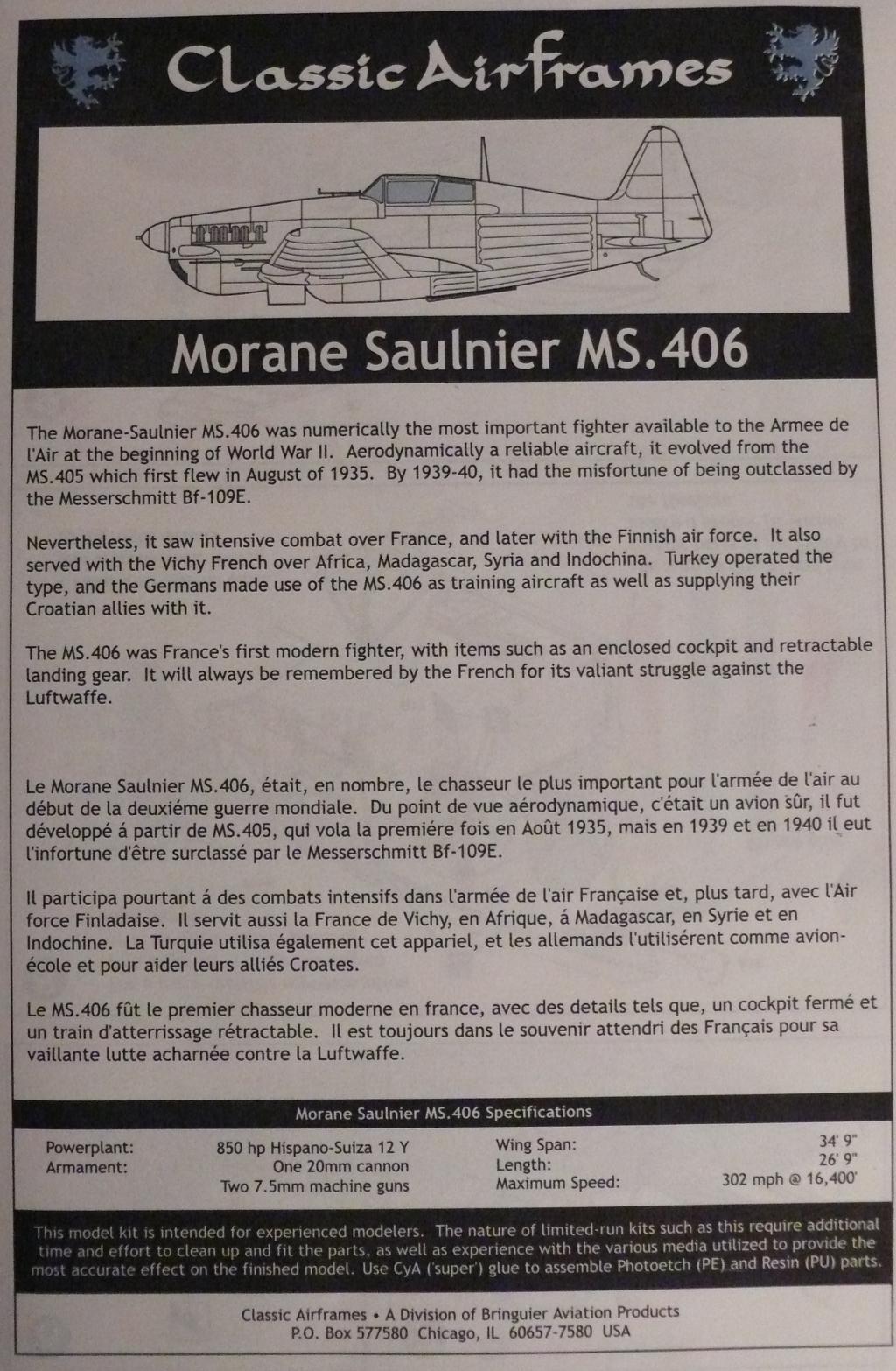 Morane Saulnier MS406 1/48 Classic Airframe 248644P1090589