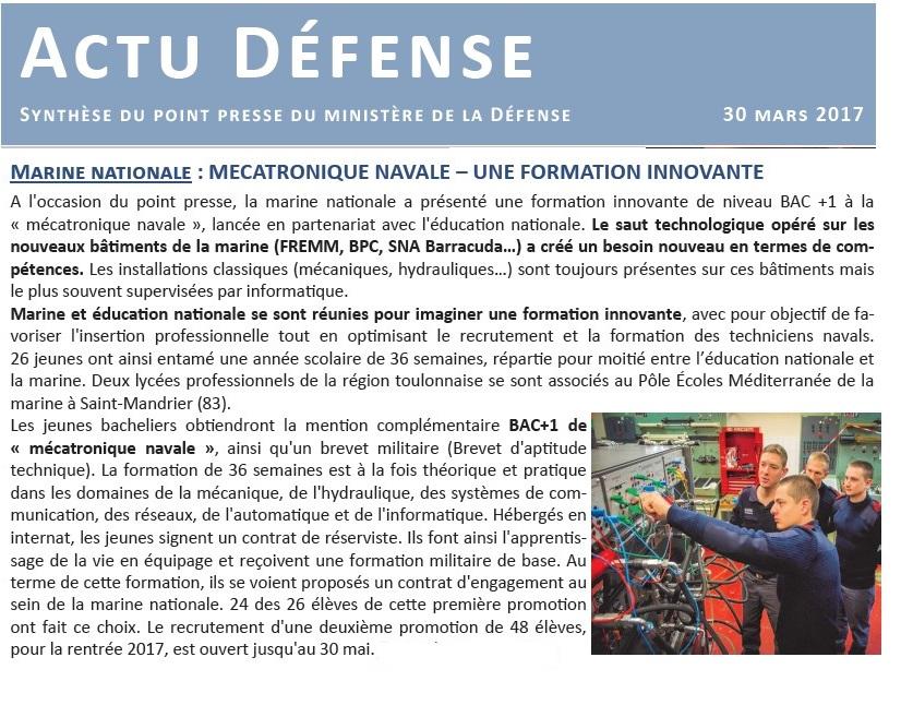 [ Vers une nouvelle spécialisation ] Une nouvelle formation Mecatronique Navale 252712Actudefense