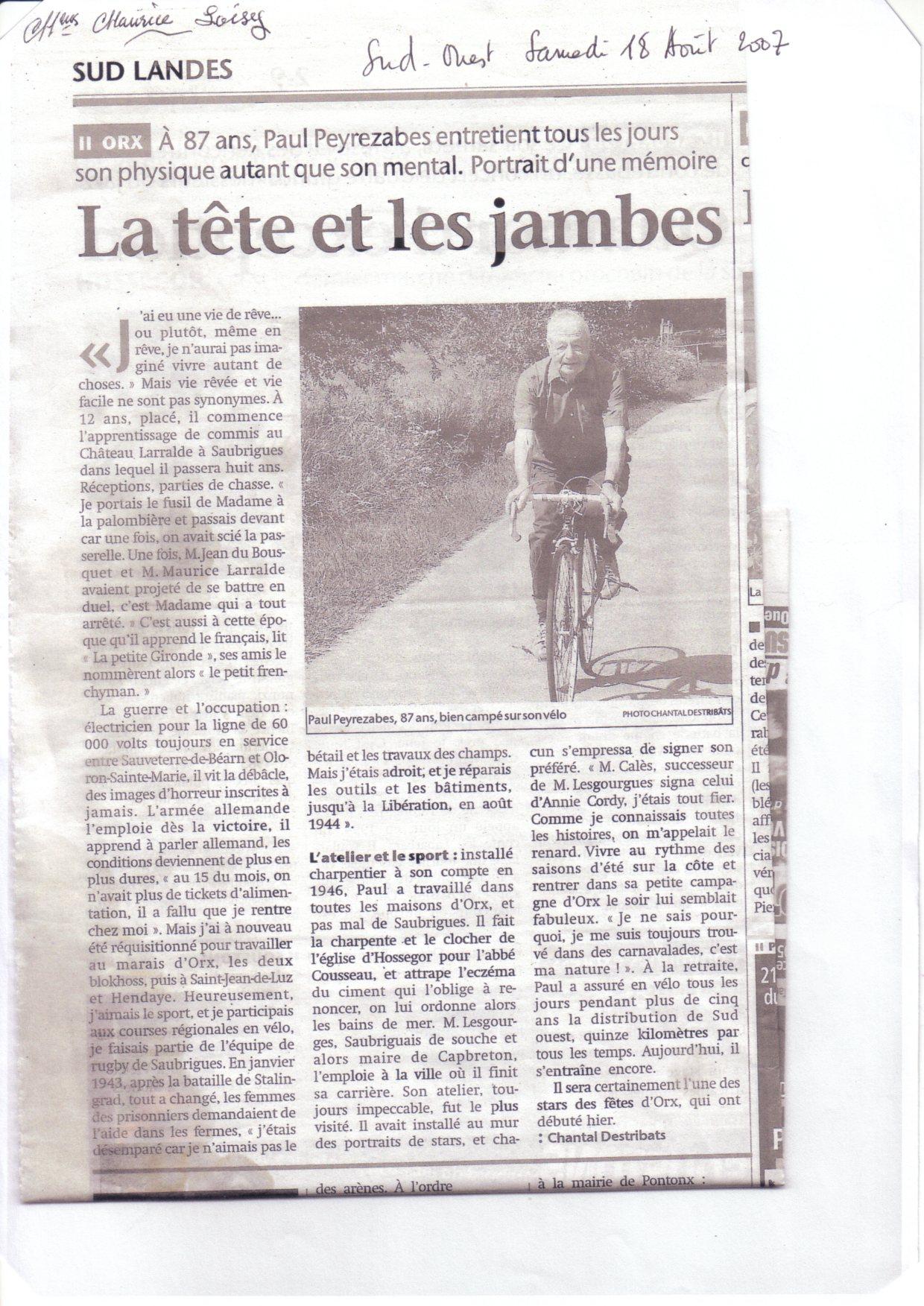 Vélo de course TENDIL 1939 296136articlejournalsudlandespaul