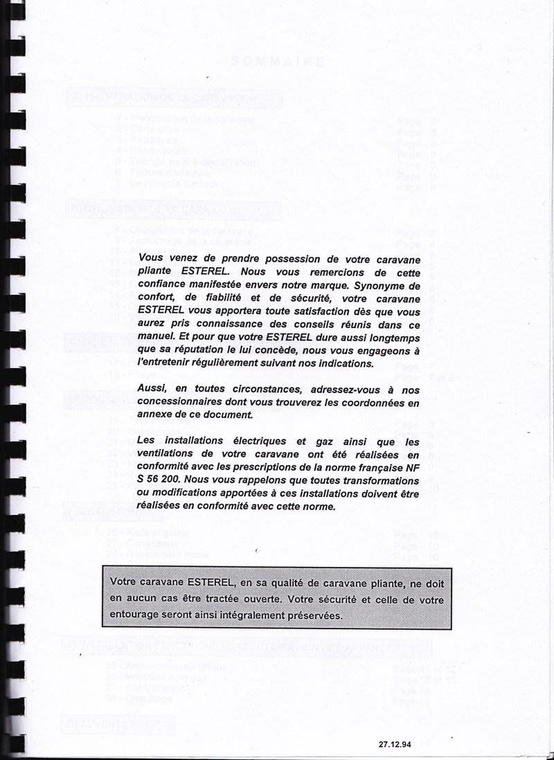 Manuel d'utilisation et d'entretien des caravanes Esterel 1997/1998 410539IMG0001