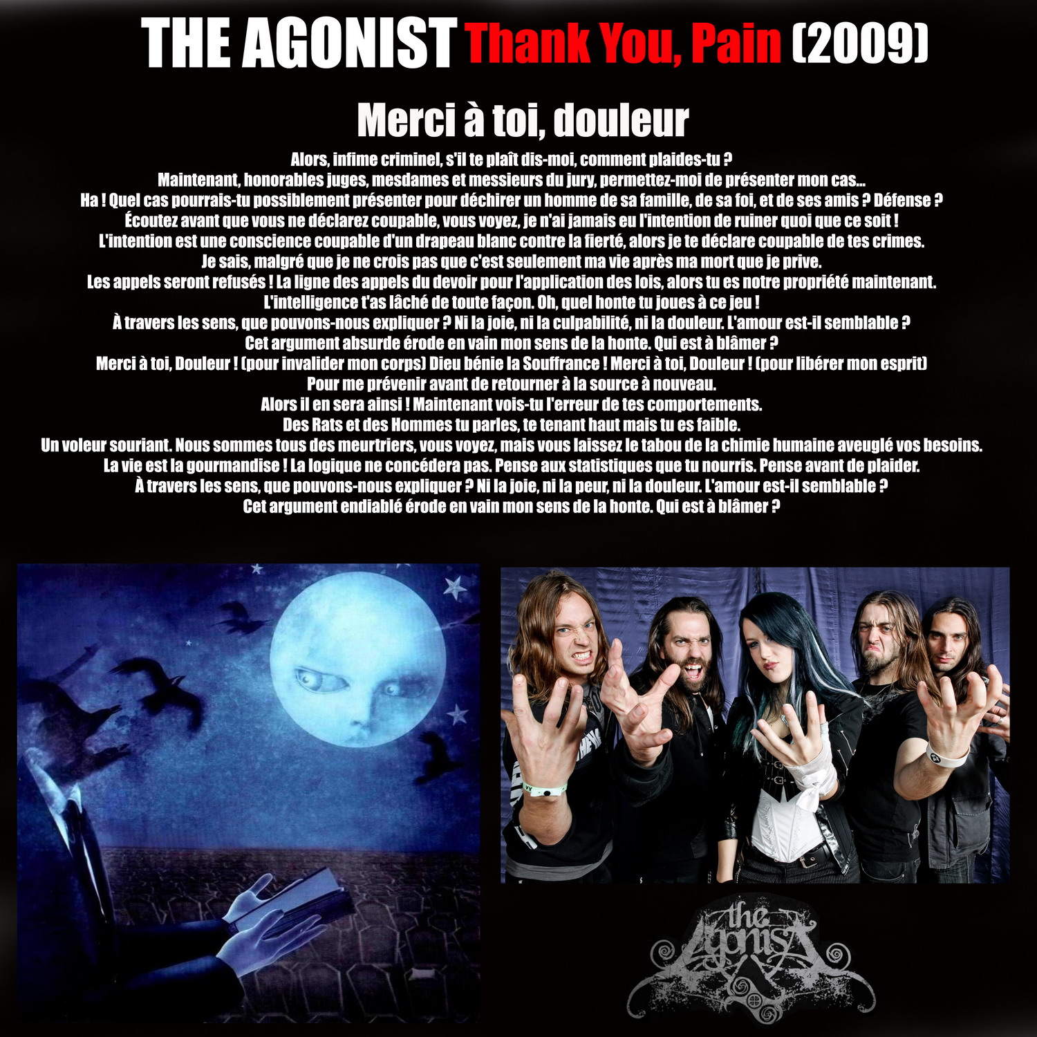 THE AGONIST Thank You Pain (2009) Merci à toi, douleur ... 423665THEAGONISTThankYouPain2009