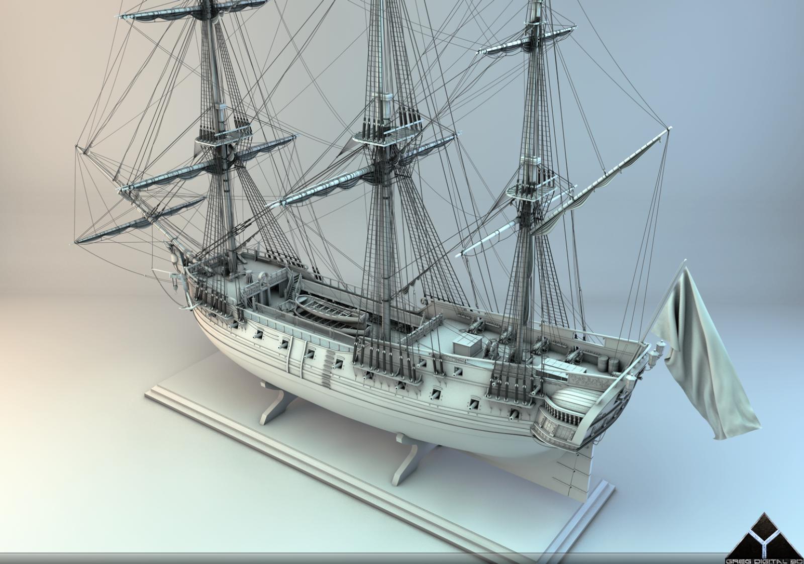 Frégate 36 canons XVIII° [Création 3D] par Greg_3D - Page 4 431250FrgatelightroomR163
