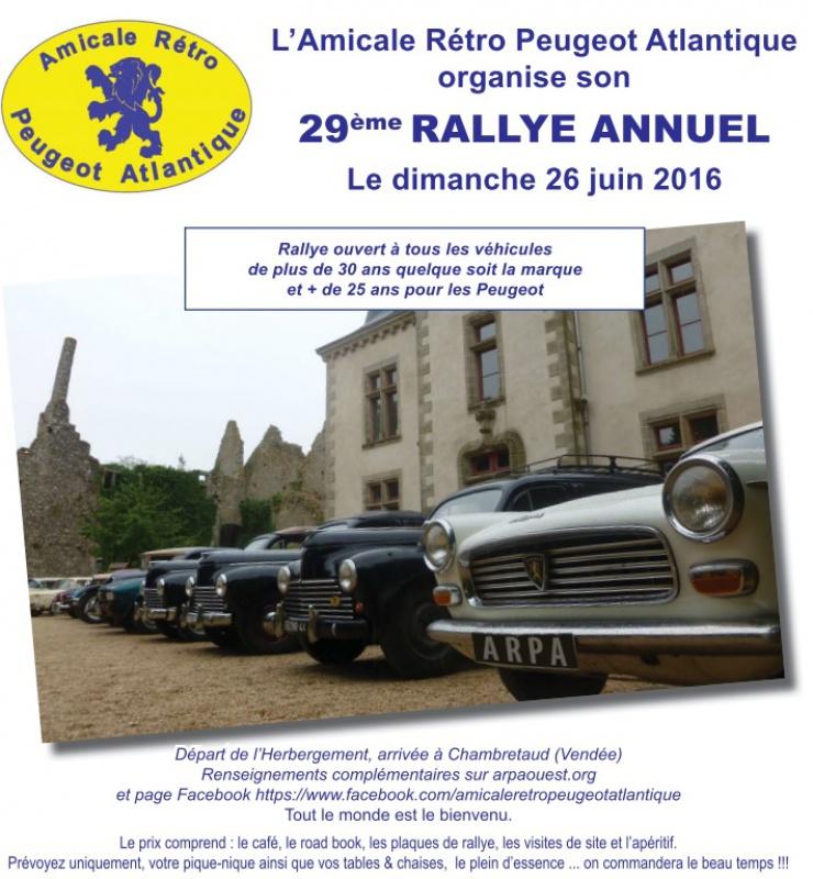26 Juin - 29 ème Rallye de l'Amicale Rétro Peugeot Atlantique (ARPA) 489019Afficherallye2016