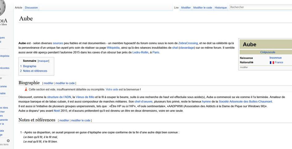 Vous dans Wikipédia, on en dirait quoi en 20 lignes ? 506263AUBEWIKI2