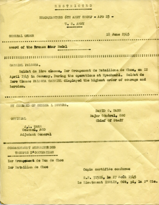 LES DÉCORATIONS AU CHOC 1943-1945. 513041BronzestarPALOMBAcitation