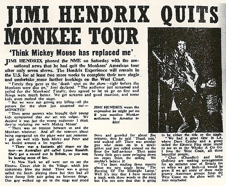 La période Monkees (été 1967) Lyne Randell chanteuse australienne et le Jimi Hendrix Experience 54889717071967
