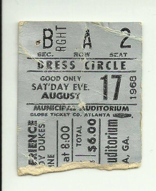 Atlanta (Atlanta Municipal Auditorium) : 17 août 1968 [Premier Concert] 617794Atlantabillet1968n