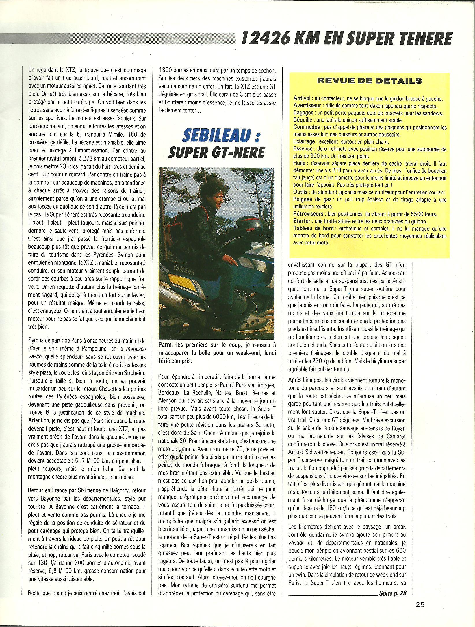 Essai longue durée 12'426km en Super ténéré 750 le 25 Mai 1989 656931p8001