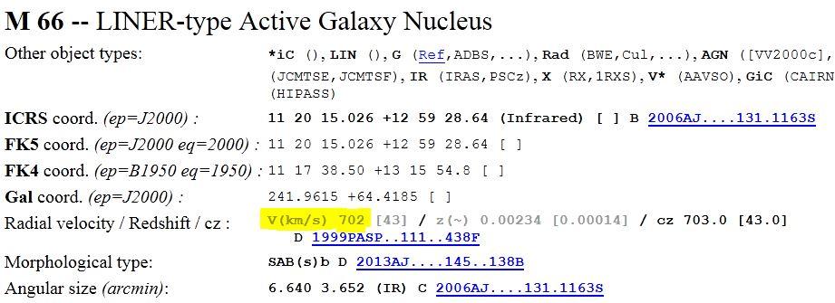 Vitesse radiale de la galaxie M66 depuis le Pic du Midi 669449M66Simbad