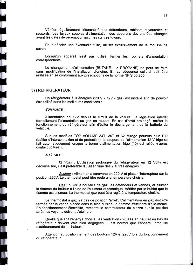 Manuel d'utilisation et d'entretien des caravanes Esterel 1997/1998 672669IMG0013