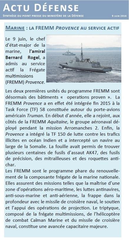 FREMM Provence (D652) - Page 5 688065Actu