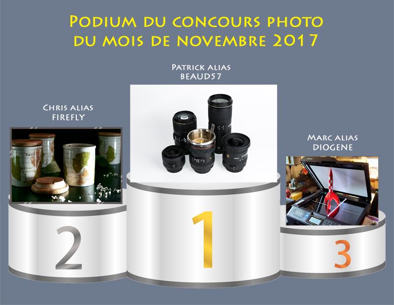 """Concours photo du mois de novembre 2017 - Thème """"Mise en valeur d'un objet banal"""" (terminé) 701423Podiumnovembre"""