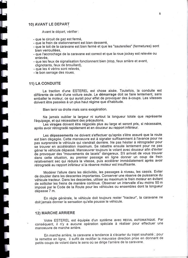 Manuel d'utilisation et d'entretien des caravanes Esterel 1997/1998 704031IMG0005