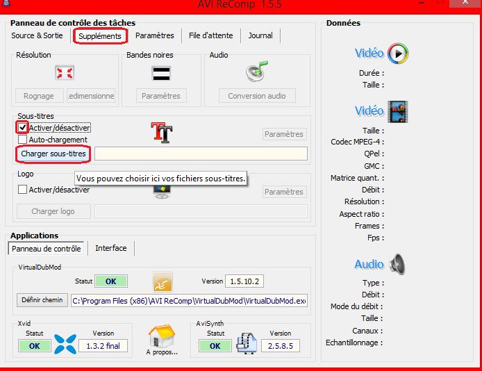 (Incrustations) Incruster des sous-titres avec Format Factory ou AVI Recomp (quand Virtual Dub ne marche pas) 716189011Chargersoustitres