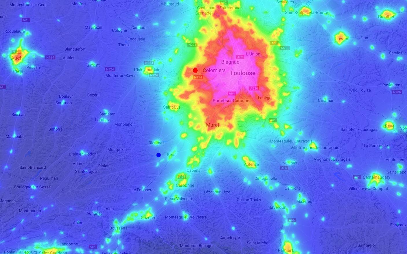 Spectre de la pollution lumineuse Toulousaine 720522Cartepollum