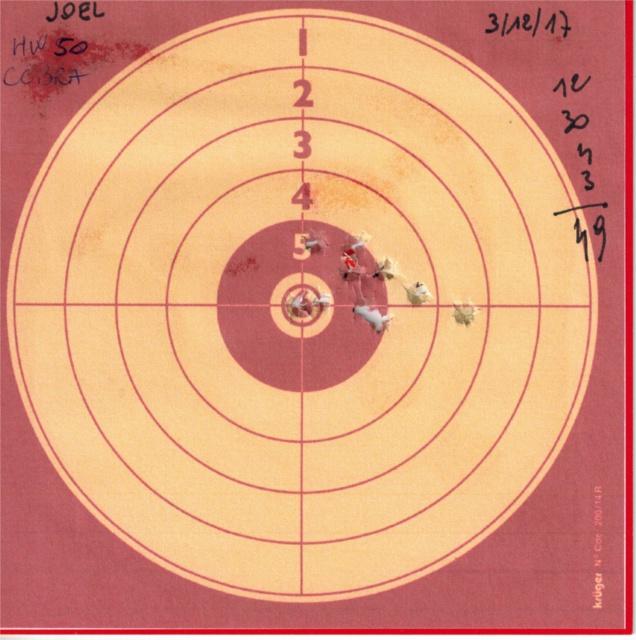 Tests plombs avec carabine Weihrauch HW50S 722126HW50UMAREXCOBRA