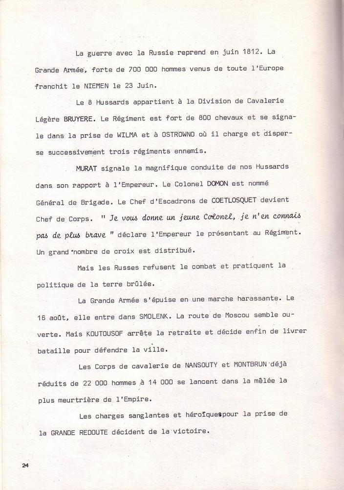 L'épopée Napoléonienne du 8 ème Régiment de Hussards  - Page 2 722623Historique8RHN24