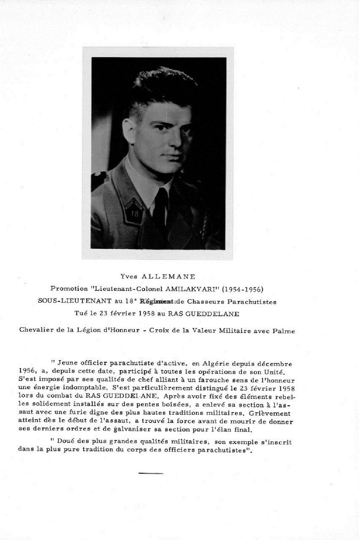 """Sous-lieutenant Yves ALLEMANE Promotion """"AMILAKVARI"""" 18è RCP AFN 767460ALLLE0001PLE"""