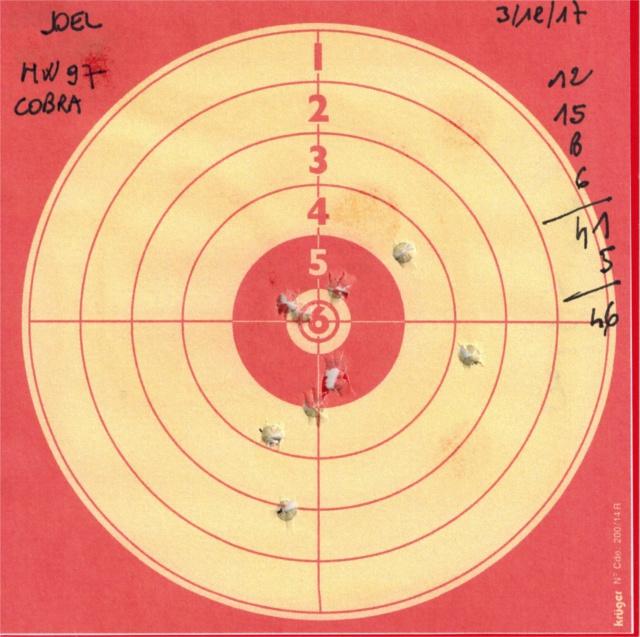 Tests plombs avec carabine Weihrauch HW97 BL 774727HW97UMAREXCOBRA