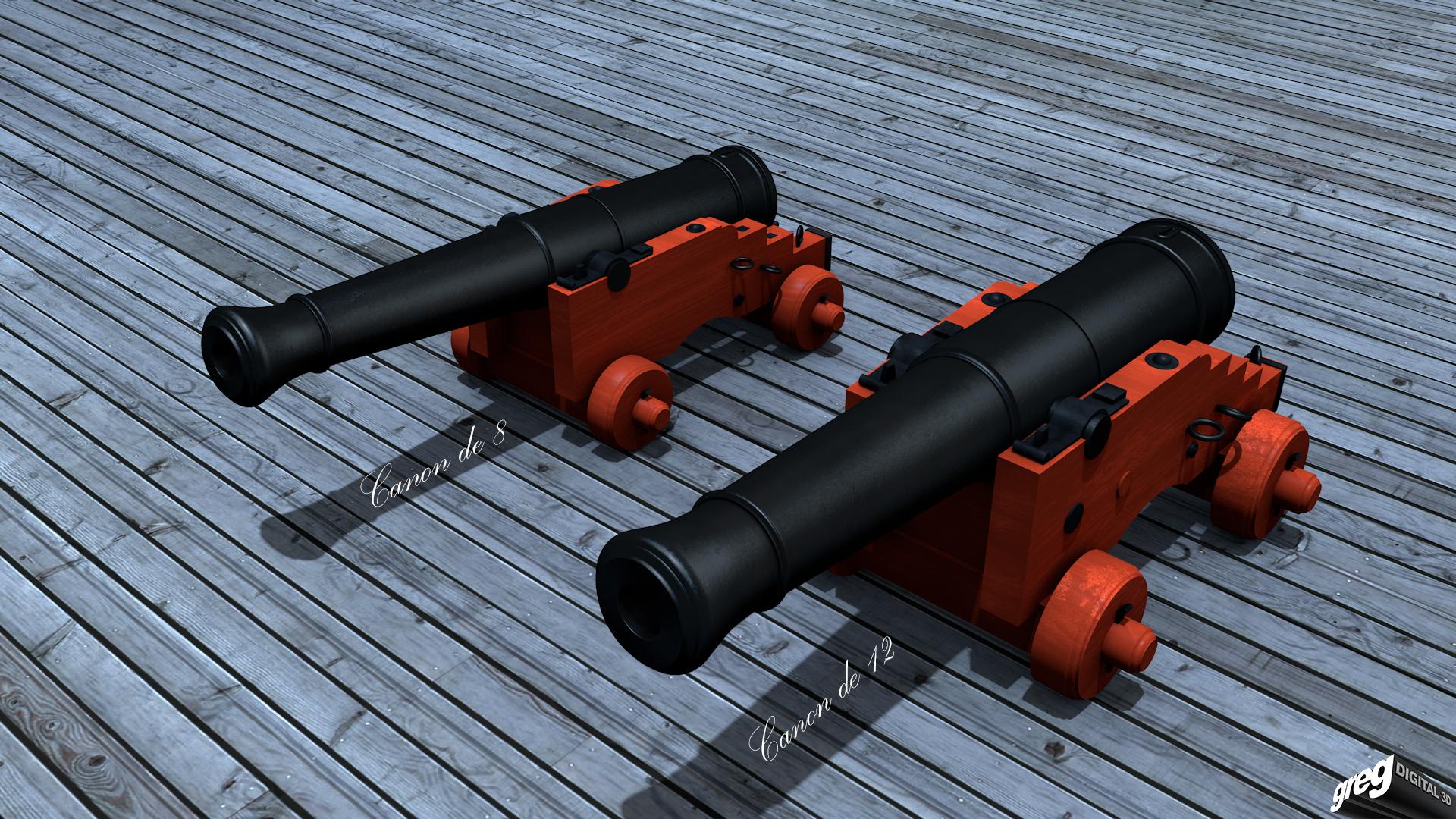 Frégate 36 canons XVIII° [Création 3D] par Greg_3D - Page 3 800903Canonsretouche