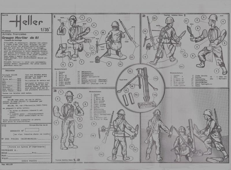 Groupe de combat FRANCE 1ère Armée Française 1944-1945 Groupe de Mortier 81 1/35ème Réf.115 803344Heller115135002GroupedeCombatFranceGroupeMortier81